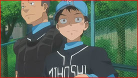 Mihashi's old teammates (left to right): Hatake and Kanou.