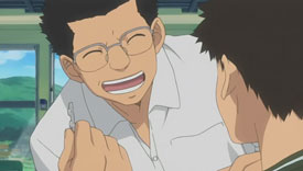 Mihashi is sick so Shiga tells Abe to give him medicine and bond–