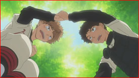 "Mihashi is a mess so Abe uses Momoe's empathy technique. ""It's okay. You're a good pitcher."" (Abe)"