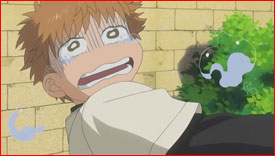 """It's a lie!!"" Holding his hand has the complete opposite effect and Mihashi breaks down completely."