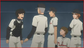 Abe explains Mihashi can't move on because he continues to be enslaved by his past. Nishiura High must win the first 1st practice match against Mihashi's ex-teammates to severe their hold over him.