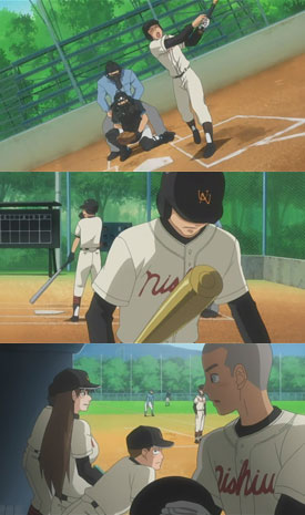 """I didn't hit it—"" (Hanai) T_T (Hanai) ""Why did you wait for the forkball?"" (Momoe)"